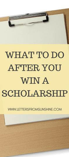 There are plenty of articles that reveal the best way to apply to scholarships and how to increase your chances of winning, but none of them tell you what you need to do if you win. Financial Aid For College, College Fund, College Planning, College Hacks, Education College, College Life, College Admission, College Ready, Dorm Life
