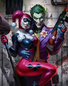 Batman & The Dark Knights of Gotham — Harley Quinn & The Joker by Alex Pascenko Harley Quinn Et Le Joker, Harley Quinn Drawing, Joker And Harley Tattoo, Joker Images, Joker Pics, Art Du Joker, Personnage Dc Comics, Joker Kunst, Harley Queen