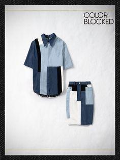 COLOR BLOCKED  3.1 Phillip Lim short-sleeved patchwork shirt, $325, and cut-up skirt, $325For information: 31philliplim.com