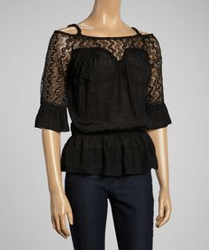 Look what I found on #zulily! IRE Black Lace Cutout Top by IRE #zulilyfinds