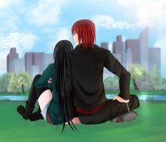 Depois dos pedidos, finalmente resolvi fazer um presente para mim mesma. <3 Na imagem: Castiel (Amour Sucré) e Nanako (OC). No imgur: i.imgur.com/9IQGT9y.jpg