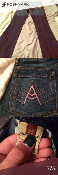 7famk A pocket A pocket pink stitching, 25x31 really cute bought for my daughter but they're to big for her. 7 For All Mankind Jeans Flare & Wide Leg