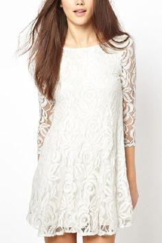 White O-neck Long Sleeves Lace Dress