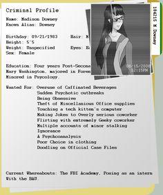 Image Result For Theft Criminal Profile Template
