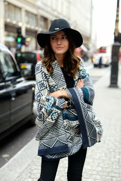 Tribal Printed Woven Winter Wrap | Cool Blues, Cool Style