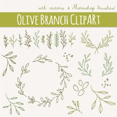 Olive Branches & Sprigs Clip Art // Photoshop by thePENandBRUSH