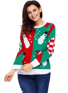 Women Green Plaid Snowman Star Print Long Sleeve Pullover Ugly Christmas Jumper - S Ugly Christmas Sweater Cute, Ugly Christmas Jumpers, Christmas Sweaters For Women, Red Christmas, Christmas Snowman, Winter Tops, Star Print, Holiday Outfits, Pulls