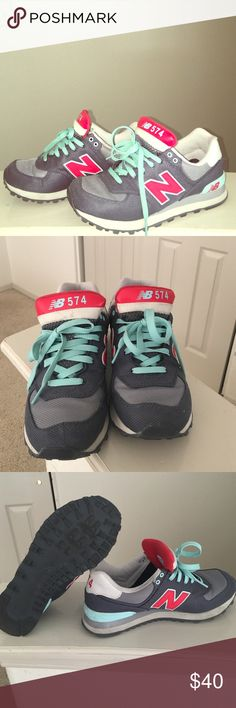 New balance shoes Teal, red, and gray new Balance 574.  Sooo comfy.  Purchased head while I was pregnant.  So they are wide.  Awesome shape.  Wore them a few times.  Excellent condition just needs a bit cleaning. New Balance Shoes Athletic Shoes