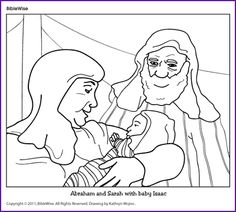 Coloring Abraham And Sarah With Baby Isaac