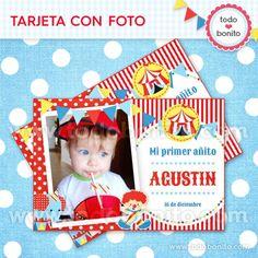 Circo niños: tarjeta con foto - Todo Bonito