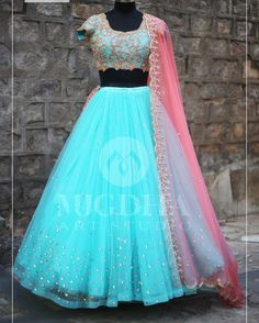 Mugdha Art Studio soft powder blue and blush pink lehenga combined with golden embroidery and zari work. Now Available on Mugdha Art Studio FOR ORDER what s app on:- Half Saree Lehenga, Lehnga Dress, Indian Lehenga, Bridal Lehenga, Anarkali, Kids Lehenga, Banarasi Lehenga, Lehenga Gown, Lehenga Blouse