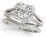 BrillianceDeco.Com Unique Split Shank Halo Moissanite Bridal Ring Set 0.60 Ctw.