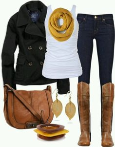 Mustard scarf, skinny jeans, boots and pea coat......  Now i just need to acquire (crochet the scarf?) all of these :)