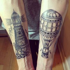 http://tattoo-ideas.us/wp-content/uploads/2014/01/Lighthouse-And-Aircraft.jpg Lighthouse And Aircraft #Armtattoos, #BlackInk