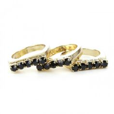 Stackable Stone Rings in Black & Gold.