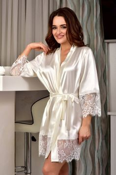 Ivory bridal kimono robe Wedding satin lace robe Bride dressing gown Short robes for women Gift for daughter bridal shower from mom - Women Robes - Ideas of Women Robes - Wedding Robe, Lace Bridal Robe, Wedding Night Lingerie, Wedding Kimono, Bridal Gowns, Lingerie Outfits, Lingerie Dress, Lingerie Set, Bride Dressing Gown