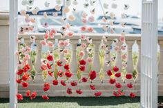 Set the scene for your vows with a curtain of carnations in an ombré color palette. This is a relatively easy flower curtain backdrop to recreate, and it looks amazing in wedding photos! Summer Wedding Decorations, Wedding Centerpieces, Floral Wedding, Wedding Colors, Wedding Flowers, Small Balloons, Flower Curtain, Wedding Ceremony Backdrop