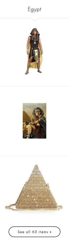 """""""Egypt"""" by shays22 ❤ liked on Polyvore featuring costumes, gold costume, plus size costumes, plus size halloween costumes, womens plus costumes, plus size womens costumes, bags, handbags, clutches and judith leiber"""