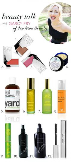Beauty Talk: Garcy Fry of EcoDiva: (1) Kjaer Weis-Organic Cream Blush-Desired Glow (2) Kjaer Weis Organic Lip Tint -Sweetness (3) Kjaer Weis Organic Lip Tint -Bliss Full (4)  Soapwalla Deodorant Cream (5) Yarok Shampoo & Conditioner (6) Tata Harper Replenishing Nutrient Complex (7) Tata Harper Hydrating Floral Essence (8) Consonant 100% Natural Matte Finish Sunscreen-SPF 15 (9) Tata Harper Be True Lip Treatment (10) Kahina Toning Mist (11) Kahina Facial Cleanser (12) Kjaer Weis Organic…