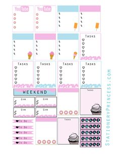 Planner & Journaling Printables ❤  Free Dessert Theme Planner Stickers