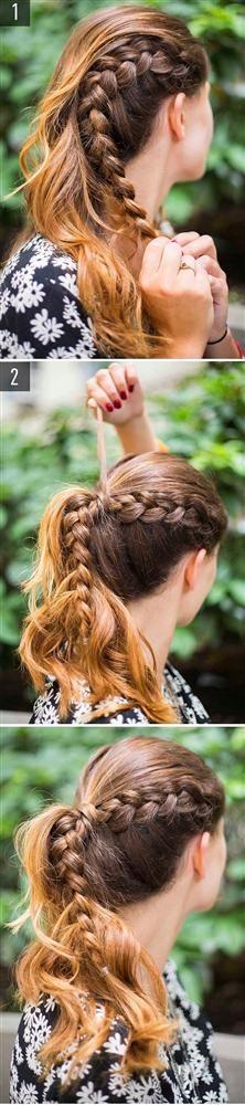 Örgülü at kuyruğu,  Saçınızın yan tarafını örün ve tüm saçla birlikte toplayın. Minik bir saç parçasından yardım alarak tokayı gizleyin. Harika görünüyorsunuz!