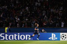 David Luiz of PSG celebrates scoring a goal during the Group F UEFA Champions League match between Paris Saint-Germain v FC Barcelona held at Parc des Princes on September 30, 2014 in Paris, France.