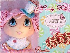 5 candy dolls + pirulito + amanda pin