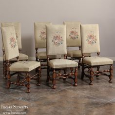 Antique Dining Room Furniture | Dining Chairs | Set Of 6 Antique  Needlepoint Chairs | Www