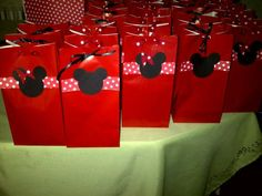Favor bags   Red Mini Mouse Birthday decorations. $1.20, via Etsy.