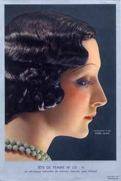 Pierre Imans 1930 Head in Céralaque Hairstyle Woman Art Deco style