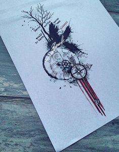tattoo quote tree bird compass clock raven arrow gear red trash polka