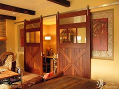 Sliding Barn Doors on Entertainment Rooms - traditional - media room - seattle - by Real Sliding Hardware