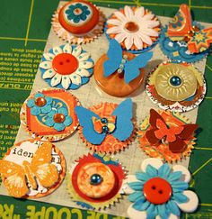 use leftovers from your stash or kit to make your own set of coordinating embellishments.