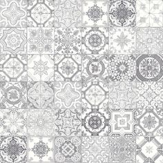 Modern grey coupled with a traditional, hand-painted look: the Marrakesh grey tiles are unique. Varying patterns on each x tile offer a quilt-like texture and allow for you to create a unique pattern and style. The monotone colour scheme coupled wit Tuile, Tiles Texture, Grey Tiles, Patterned Wall Tiles, Shabby Chic Kitchen, Marrakesh, Decorative Tile, Stone Tiles, Tile Patterns
