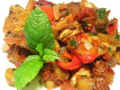 Moroccan Eggplant (Aubergine) Salad. Used cucumber instead of the parsley.  YUM!