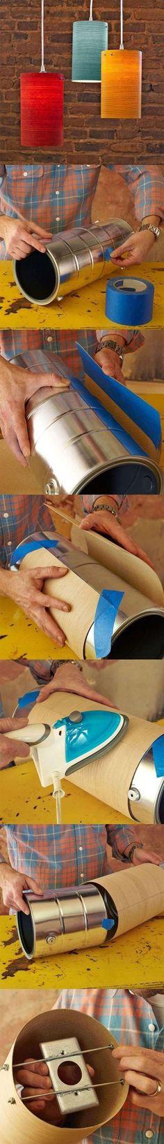 "DIY Une suspension en bois. (<a href=""http://www.lowes.com/creative-ideas/decorate-and-entertain/wood-veneer-pendant-lights/project"" rel=""nofollow"" target=""_blank"">www.lowes.com/...</a>)"