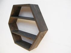 Hexagon wall shelf from Etsy. For the bathroom or perhaps in the living area. NICE. $82 (plus $43 delivery)