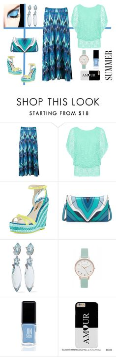 """Blue Chevron Maxi Skirt & Boho Top"" by dana-debanks ❤ liked on Polyvore featuring Aventura, WearAll, Sophia Webster, Elena Ghisellini, Alexis Bittar, Topshop and JINsoon"