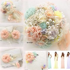 ***Made Upon Request  ***This listing is for 1 brooch bouquet as shown or in any color combination***  This brooch is an incredibly beautiful piece. It