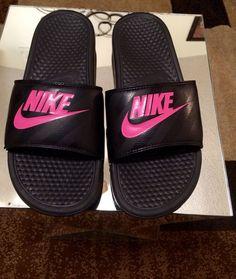 766bcb54ac3565 Women shoes Nike Benassi JDI Swoosh Slide Sandals Black Pink size 11