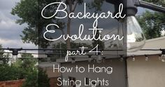 Outdoor style How to Hang Commercial Grade String Lights HOW TO HANG PATIO STRING LIGHTS! Commercial grade string lights are ideal for permanent installation in your yard and can withstand the elements year round. Hanging Patio Lights, Backyard String Lights, Solar Deck Lights, Backyard Lighting, Pergola Lighting, Outdoor Lighting, Lighting Ideas, Deeper Shade Of Blue, Garden Wall Art