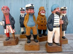 Group of six wood carved sailors pirates sea by OatesGeneral