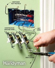 Tips for Easier Home Electrical Wiring Tips for Easier Electrical WiringTips for Easier Electrical Wiring Home Electrical Wiring, Electrical Code, Electrical Projects, Electrical Outlets, Electrical Installation, Electrical Engineering, Wire Switch, Three Way Switch, House Wiring