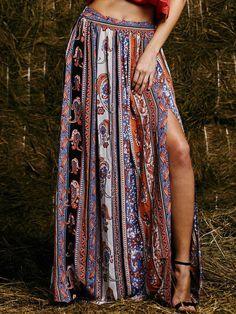 Falda tribal split maxi -multicolor 13.66