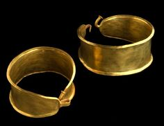 Gold Bracelets:  These gold bracelets are around 3,500 years old and date from the Bronze Age. They were part of a hoard found at Capel Isaf near Llandeilo, Carmarthenshire. Bracelets such as these were made between 1700 and 1100 BC