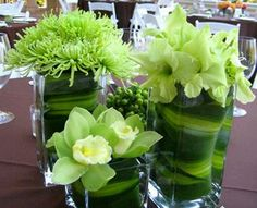 Wedding Decoration, Green Centerpieces and Flower Arrangements Green Wedding Centerpieces, Flower Centerpieces, Table Centerpieces, Lime Centerpiece, Colorful Centerpieces, Floral Decorations, Centerpiece Ideas, Lime Green Weddings, Green Table