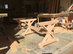 Make your own farmhouse style triple trestle table base with our kit. These table base kits are custom made for the finished length of table you would like (7 - 14). All you need to do is buy 4 - 2 x 10 pieces of lumber in the length of your choosing from your local lumber store and attach them to our base kit. Our kits are made with douglas fir and come unfinished so you can paint or stain to suit your personal style. Shown in three of the photos are some customer finished tables.  Unique…