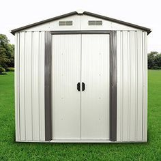 Walcut Outdoor Steel Garden Storage Utility Tool Shed Backyard Lawn Building Garage With Vents > Color: White, warm grey color steel, sheet Size: x Steel Storage Sheds, Diy Storage Shed, Outdoor Storage Sheds, Tool Storage, Shed Plans 12x16, Cheap Sheds, Yard Tools, Shed Doors, Siding Colors