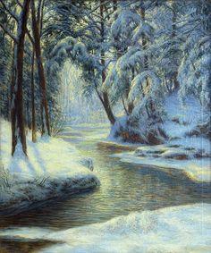 Beautiful. Artist; WALTER LAUNT PALMER (AMERICAN 1854-1932); Title: Snowy Creek; Medium: Oil on canvas.