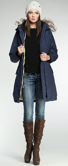 Women's winter down coat, 725 fill power. It offers a creative take on a classic design. Arctic Bay - Made in Canada. Down Coat, Fur Trim, Arctic, Rib Knit, Parka, Gray Color, Charlotte, Winter Jackets, Canada